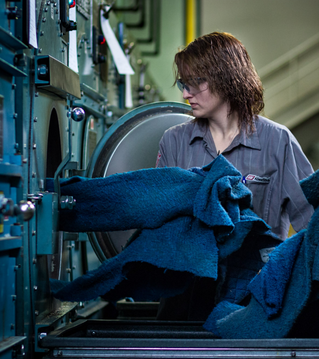 SorbIts® natural mat laundering for reuse at our South Bend, IN facility