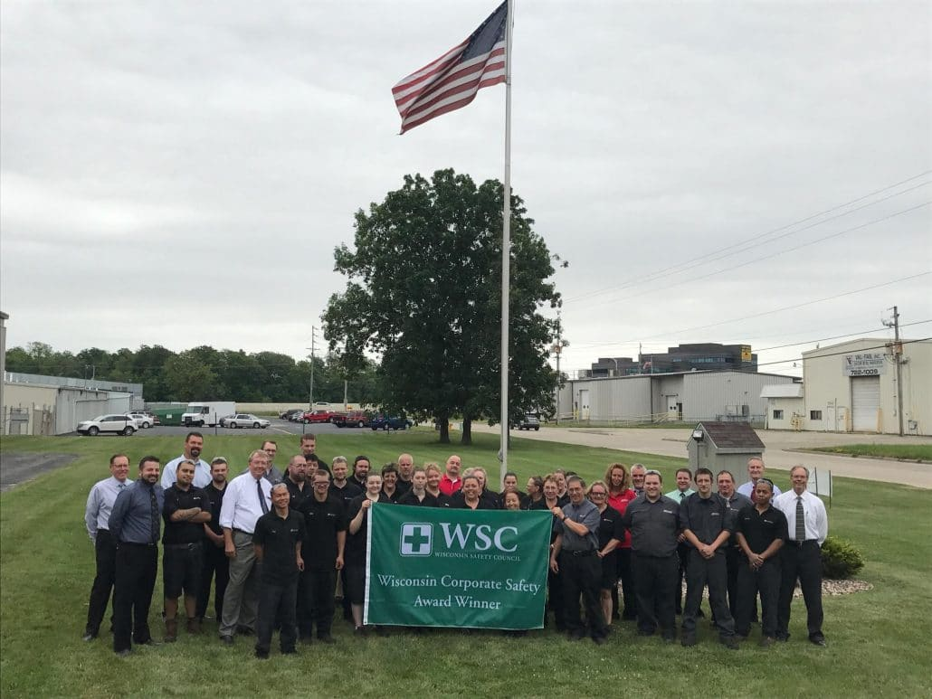 ITU AbsorbTech  accepts the Wisconsin Corporate Safety Award at our Neenah facility.